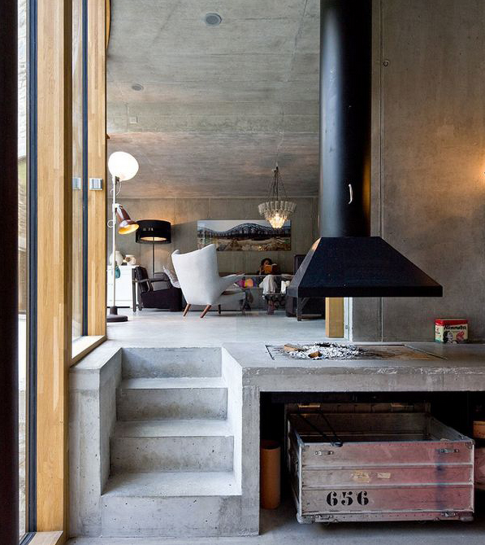 This Scandinavian home's fireplace is one of a kind.