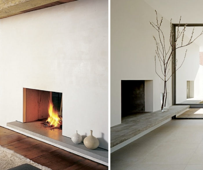 The clean lines on this fireplace give it a superstar feel.  Accessorize with neutral vases or branches like those pictured.