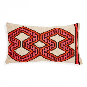 Guanabana's Orange & Black Wayuu Pillow is everything!  Available at ABC Home.