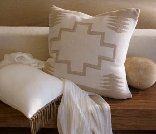 Ralph Lauren Home's Desert Modern collection has some stunning throw pillows like these two.  They're the perfect winter white, while also being beachy light for summer.
