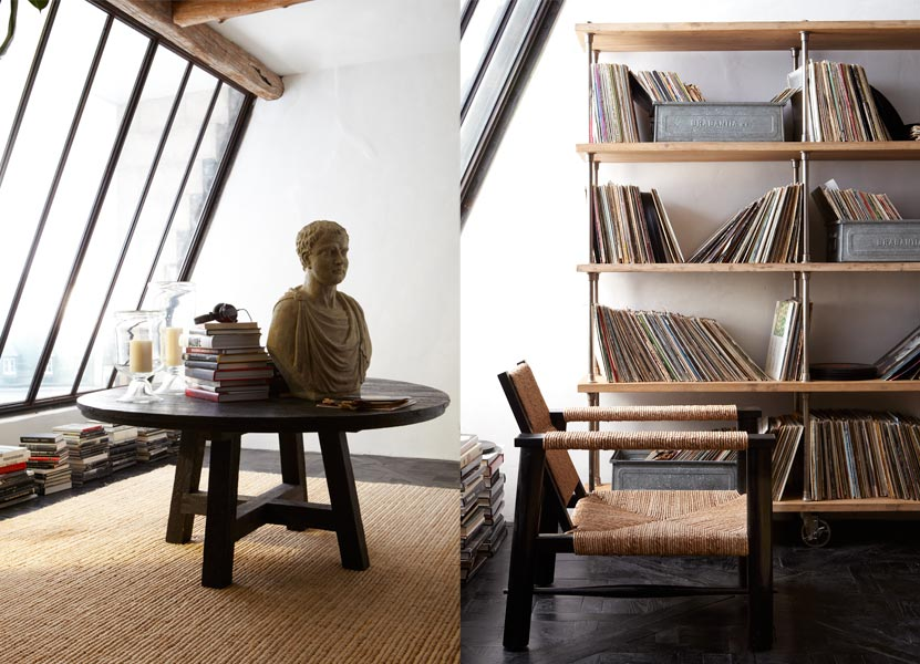 Each bookcase (ahem vinyl case) is the perfect shade of honey.  The rope-wrapped chairs with black stain compliment it perfectly for a modern industrial look.