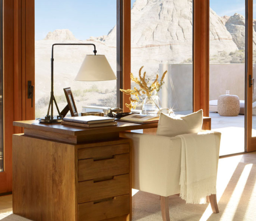 Everything about this desk, chair, and table lamp is perfection!  The soft white blanket is like icing on this cake.  Ralph Lauren hits a home run with his Desert Modern collection.