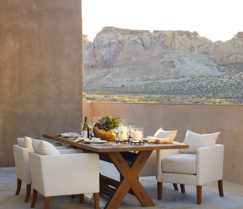 The Desert Modern outdoor dining table is his best this year by far.  The white linen armchairs make this outdoor patio feel like Heaven.