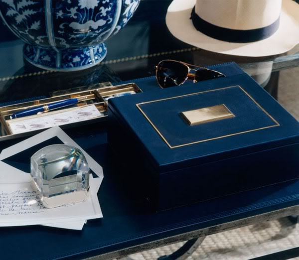 For a luxe look, opt for this velvety blue box.  It's sooooo 5th Ave.