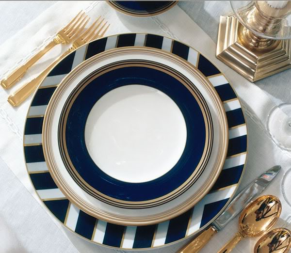 Ralph Lauren Home's dinner for the Le Grande Hotel collection does chevrons right.  It's the perfect gift for a newlyweds or to add to a wedding registry.