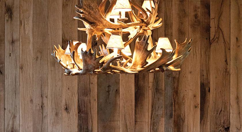 The antler chandelier and wood paneling gives the hotel a hip edge that brings in the outside.
