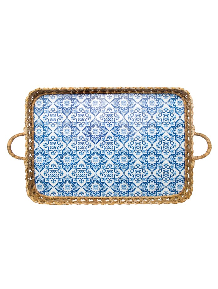 Oscar de la Renta's tiled serving tray combines the minimal feel of modern boho with a slight pop of color beautifully.