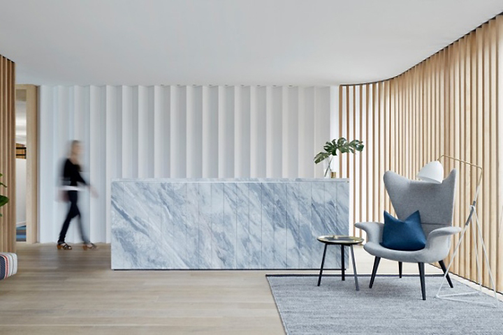 This Australian office's reception marble desk is jaw dropping.