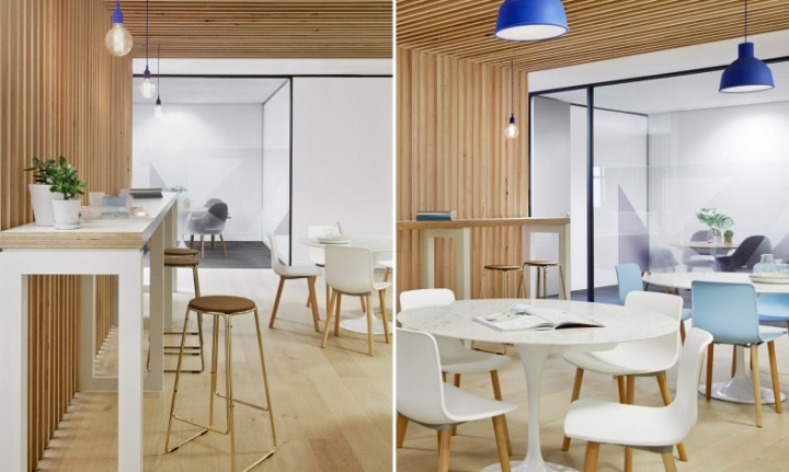 Their office kitchen and meeting area is equally cute and a true blue.