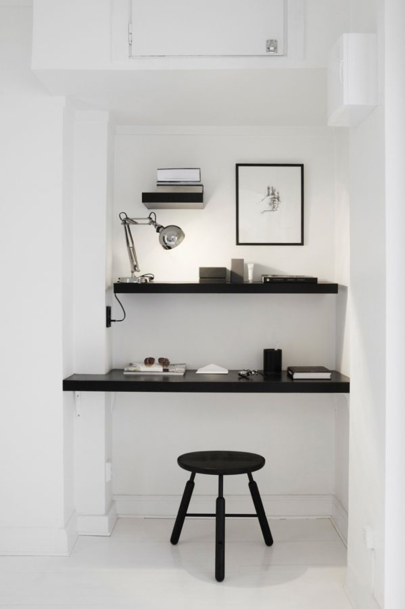 For those who don't have space for an office chair in their office nook, try a stylish stool instead.  They're easier to store and can easily be used as a stand in another room when not in use.