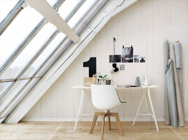 This office in the attic feels like it's on a whole 'nother level (haha).  I'm obsessed with tilted industrial windows and white washed wood paneled walls.  The Scandinavian-style chair looks so cute in this office.