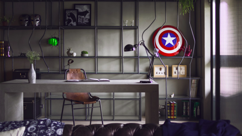 This Avengers-themed home office is perfect for the stay at home working dad.