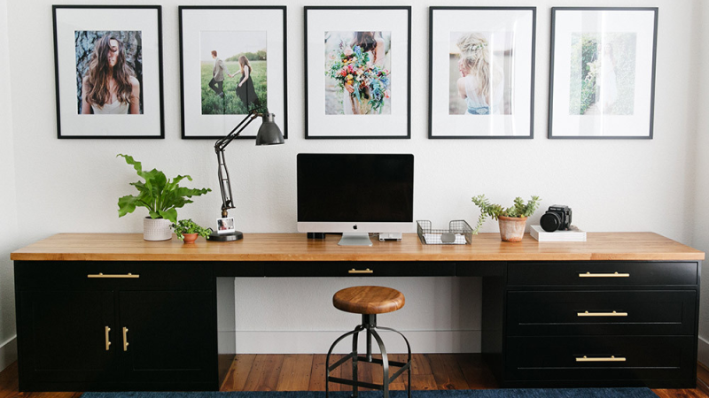 This black and brass office desk is too good to be true!  LOVE!
