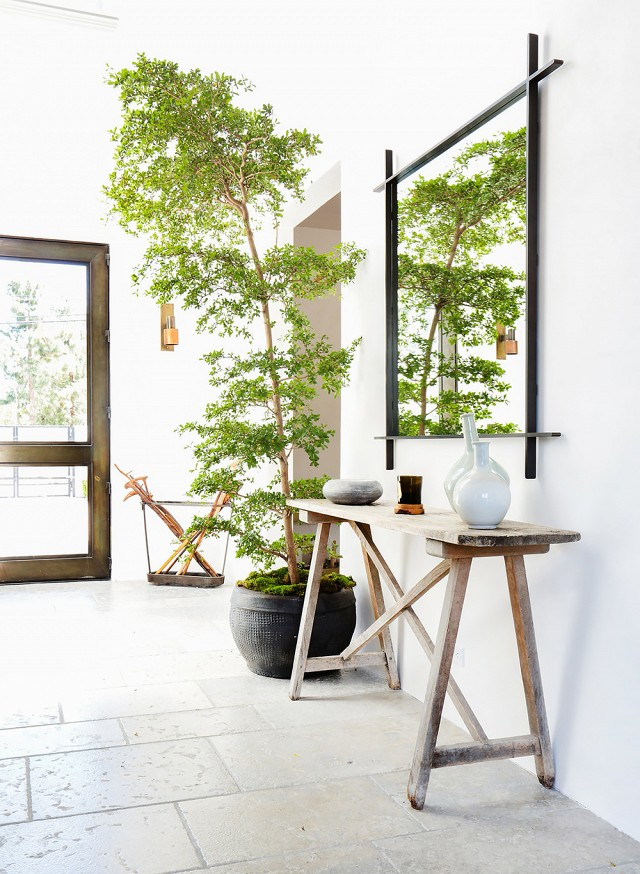 I wish I could steal that mirror and put it over my entryway table.  I love the blend of rustic furniture with lush green plants.