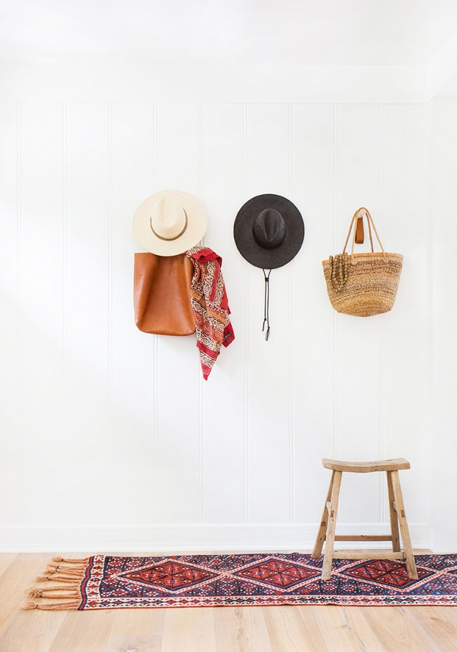 This entry way is the perfect combo of California casual and boho chic.  Love having a stool instead of entryway table or bench as it's easy to move.