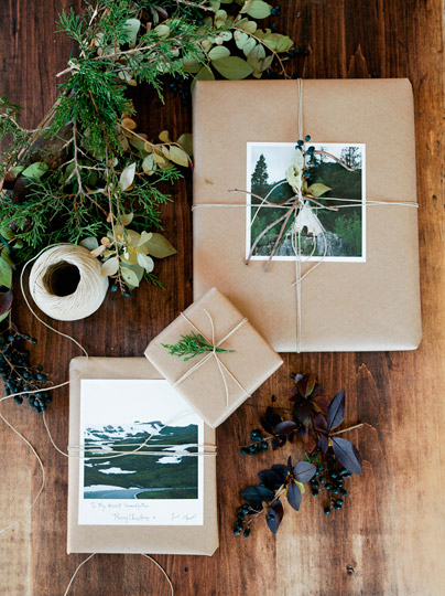Give loved ones a wrapped gift with a personalized polaroid, post card, holiday card, or printed photo and note that they won't want to tear up.