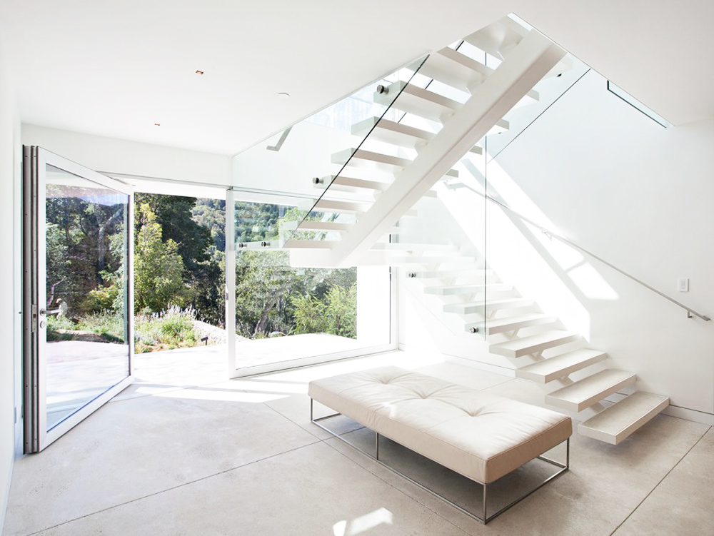 I'm obsessed with clean, white modern stairs.