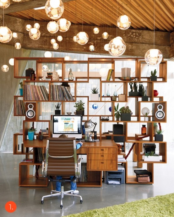 This custom office shelving and desk is a masterpiece of its own.