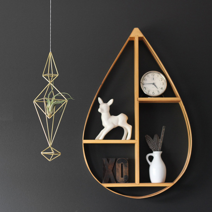 This teardrop shelf is perfect for a chic nursery, kids, or young adult room.