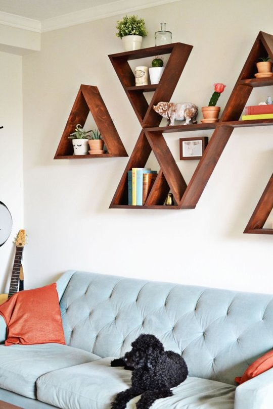 These geometric shelves create a free-spirited space for the open minded.