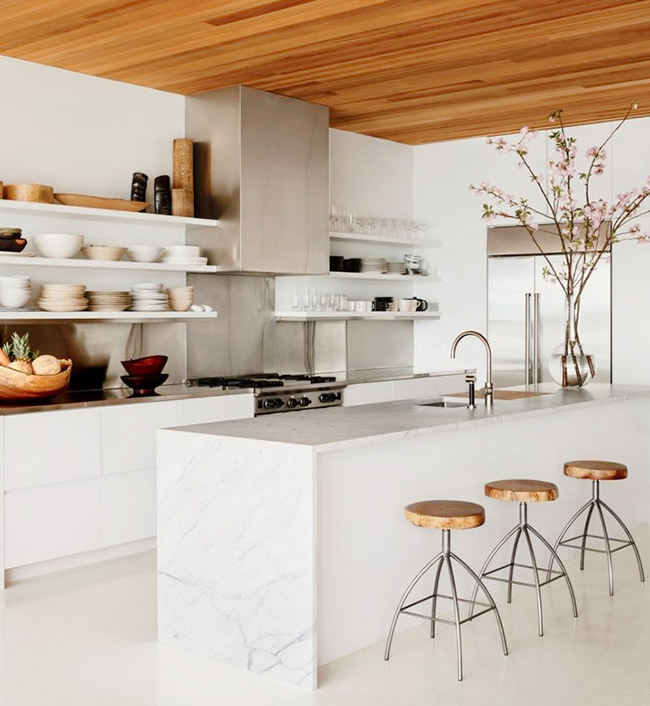 I love a beautiful white marble kitchen with open shelves.  They make it so easy for all of your dinnerware to look beautiful.