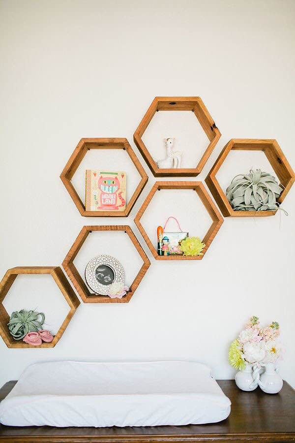 These hexagonal shelves are too cute and a great accessory for an organic modern home.