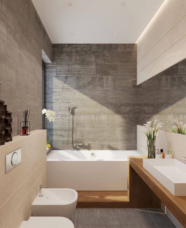 This European bathroom maximizes the clean lines throughout including with the bidet