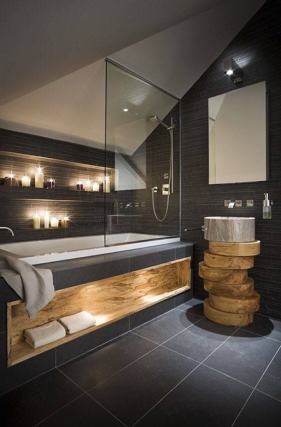 This spalted maple accents throughout this bathroom is jaw-droppingly gorgeous.