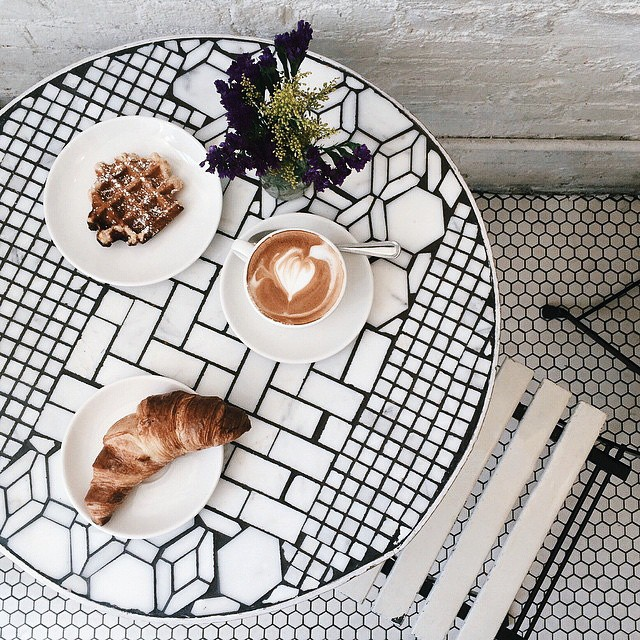 I just can't even with this monochrome mosaic bistro tables.  It's urban and edgy, yet adorable.
