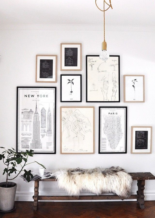This New York City inspired entryway uses reprints of old sketches and blueprints as an artful collage. The fur throw is a nice touch to soften the lines.