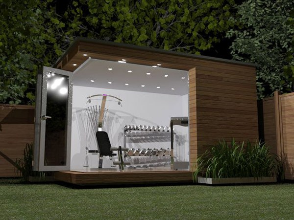 Designing a home gym woods weaves for Garden shed gym