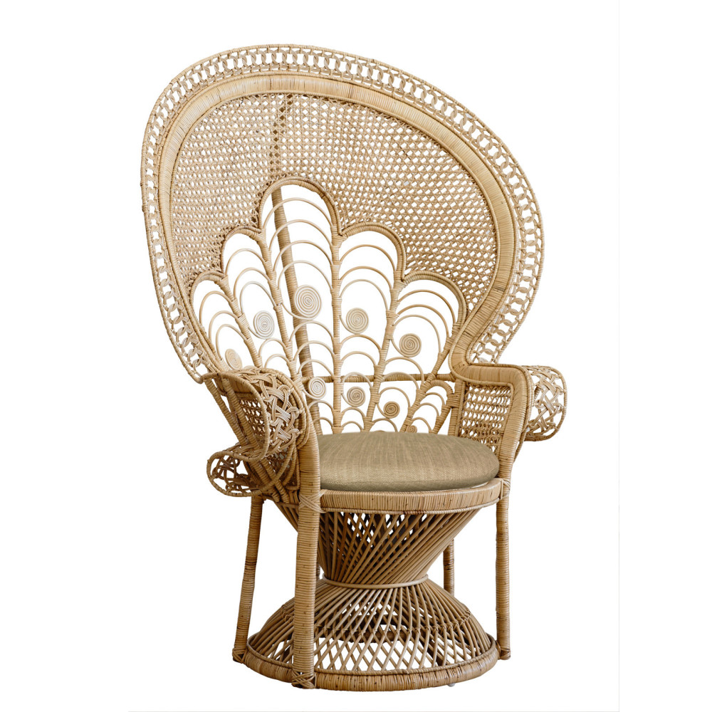 This  Lady Peacock wicker  chair has a Morocco meets English vibe that I'm really digging!