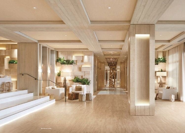 From the moment you step inside, you'll be blown away by the clean lines.  The warm earth tones are juxtaposed perfectly against the crisp white furniture.  The reception and lobby at the 1 Hotel South Beach envelops guests in understate luxury from the start.