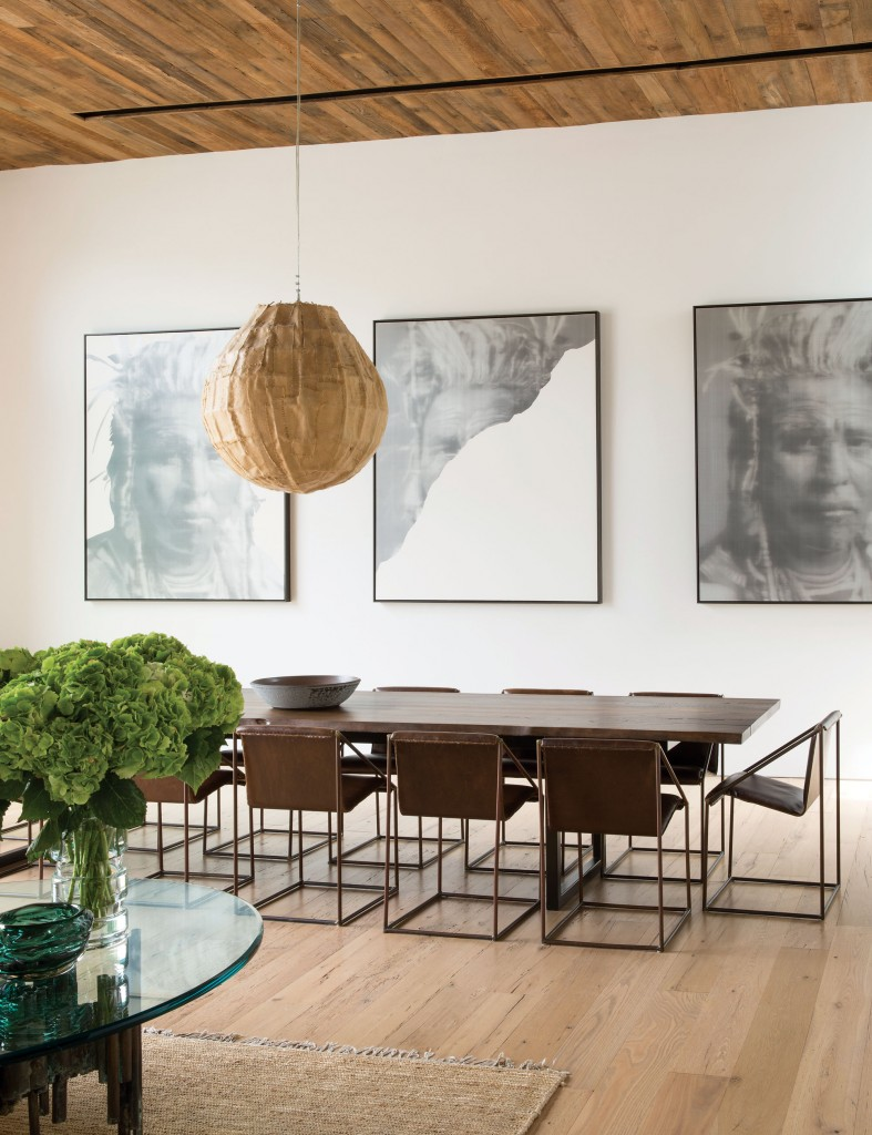 As patrons of the arts, Jenni Kayne and Richard Ehrlich naturally added character to their dining room by displaying three paintings from Santa Monica-based artist Alison Van Pelt of a Native American woman.