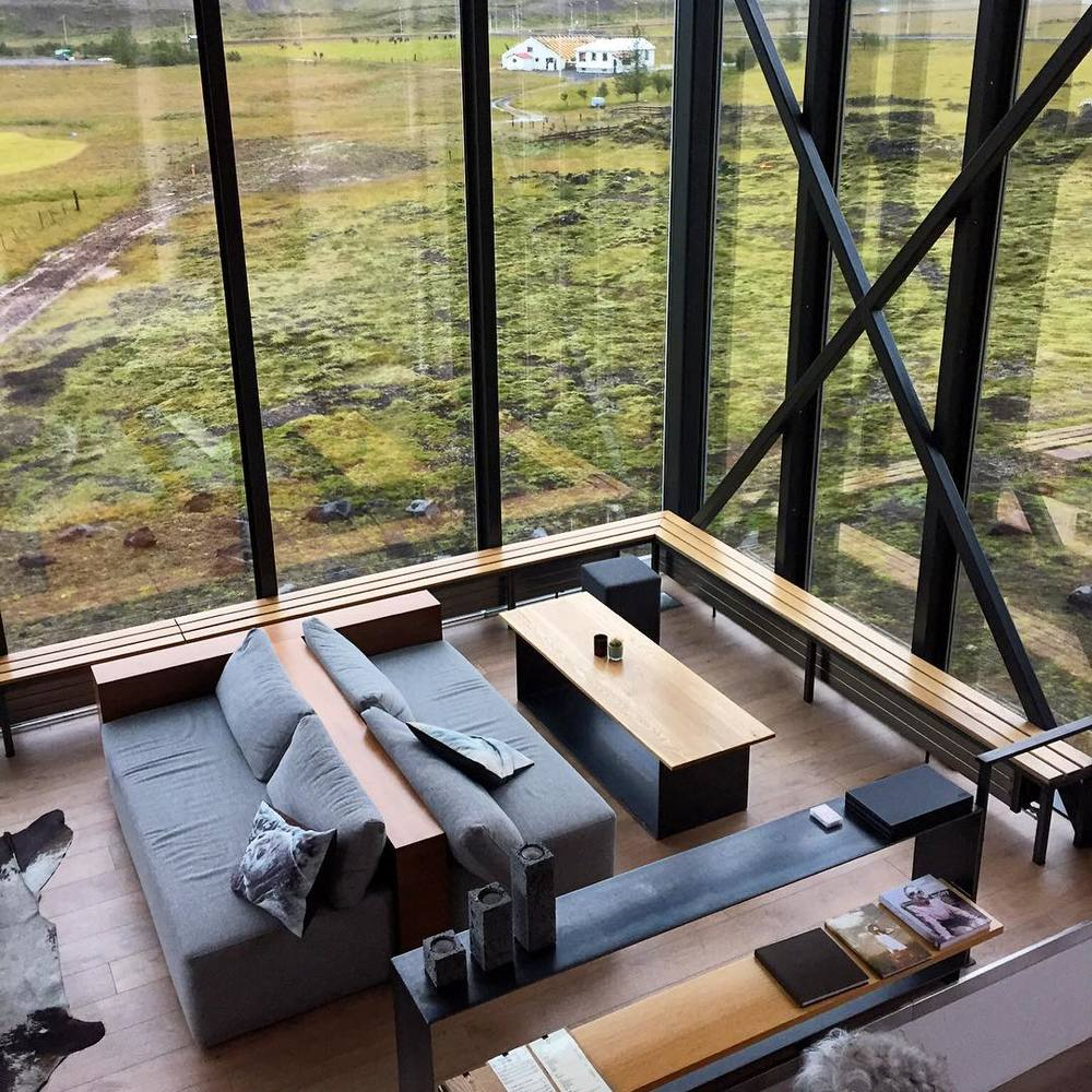 The lobby area doubles as a restaurant lounge at the Ion Adventure Luxury Hotel in Iceland.