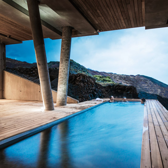 The heated pool is meant to imitate the popular activity of bathing in local hot springs.