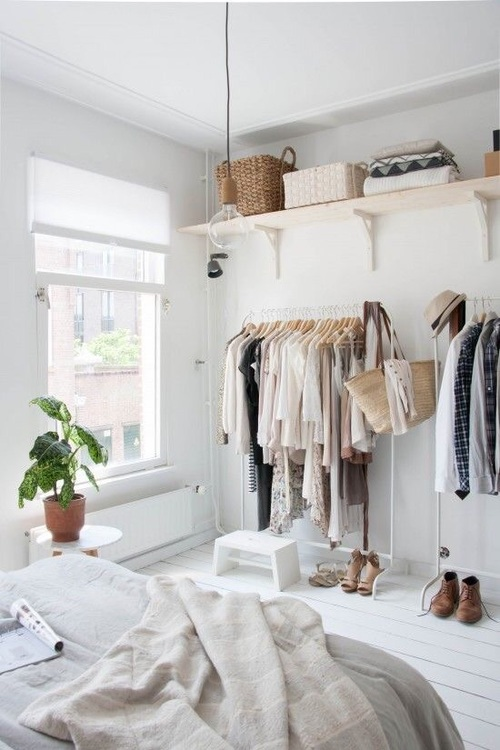 Open Closets Can Be So Chic Especially In A Small Studio Bedroom Or Dorm