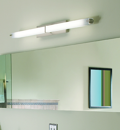 Bathroom tube lighting is boring and drab.  Get rid of these right away.  Try pendant or sconce lights instead.