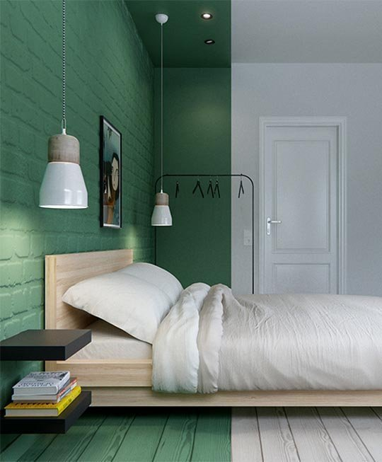 The matte green brick accent wall is unique.  I love the freshness of this green and white Nordic bedroom.
