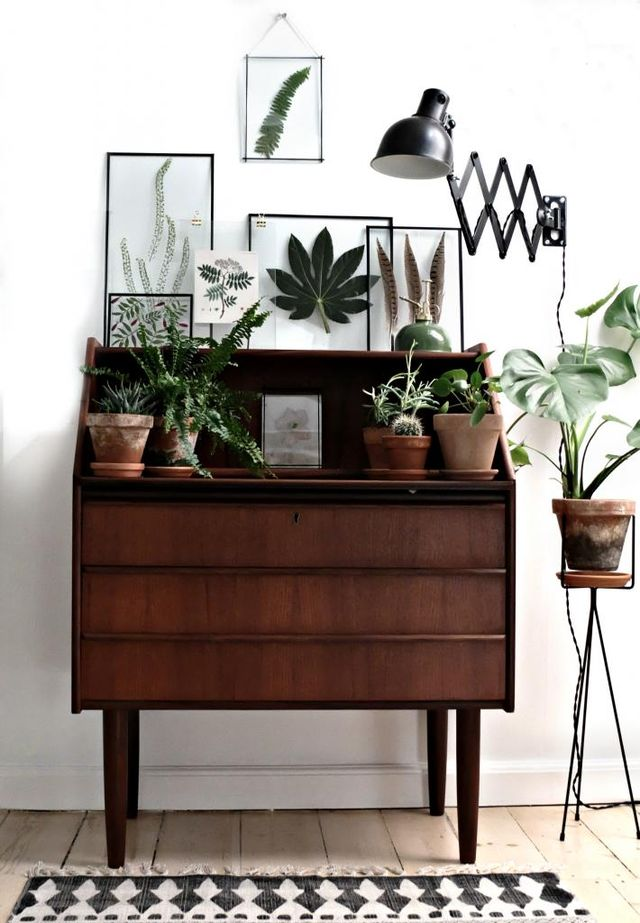 The lush green potted plants on this dresser add the perfect amount of emerald to any room.
