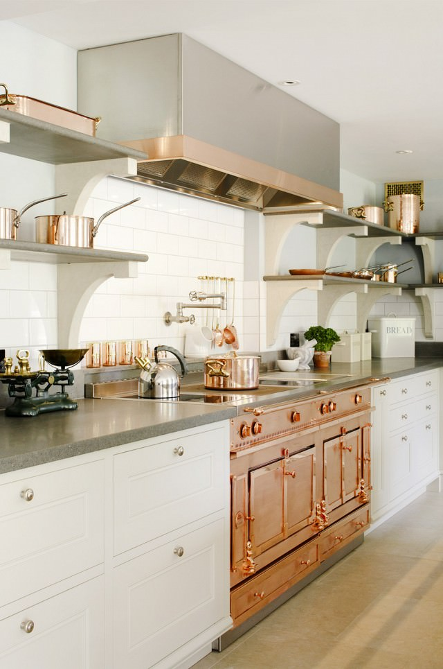 Copper stovetop and gas range kitchen
