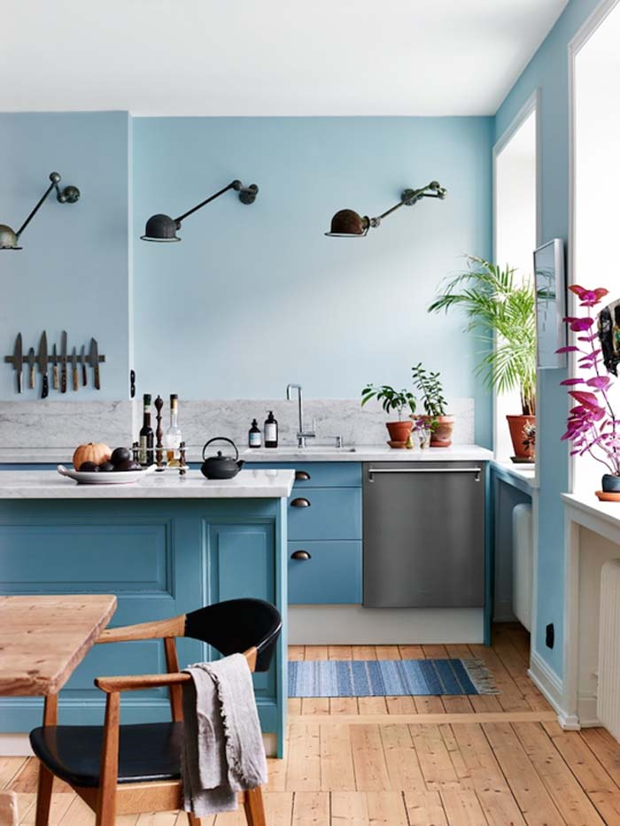 Aqua blue kitchen cabinets and painte