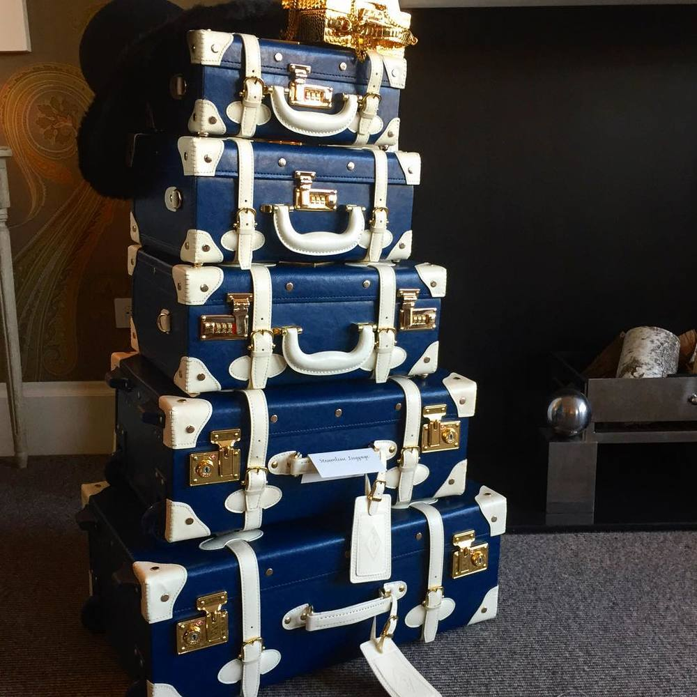 luxury blue suitcase set