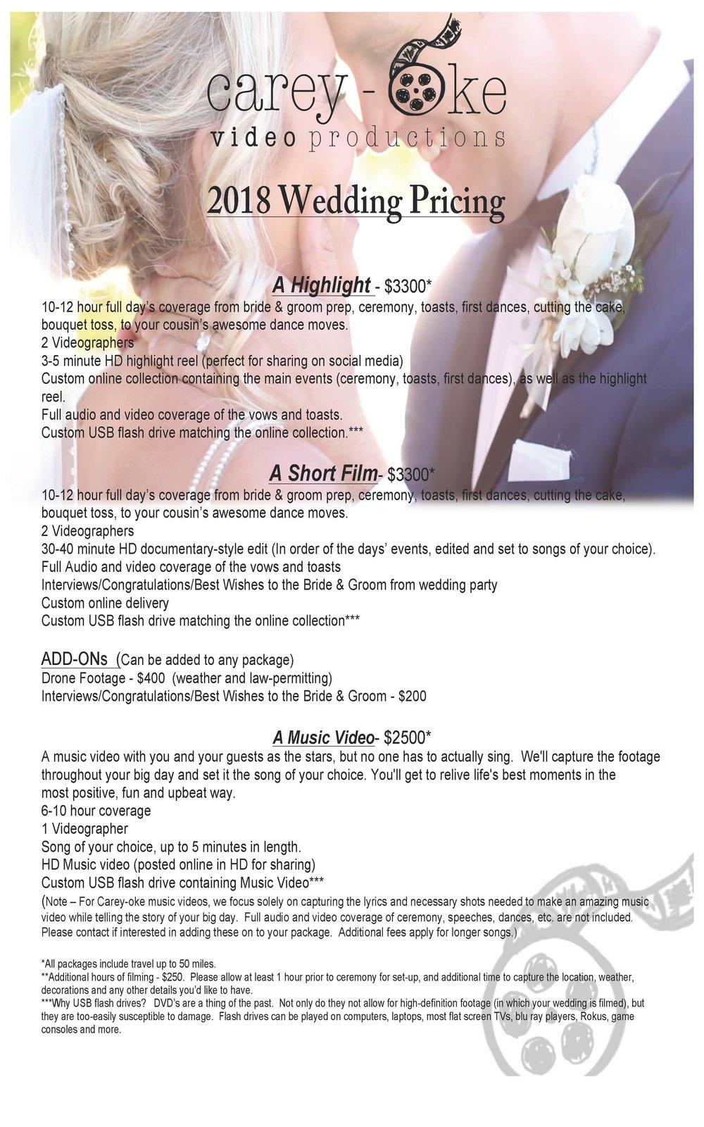 Carey-oke Video Productions 2018 Wedding Packages.jpg