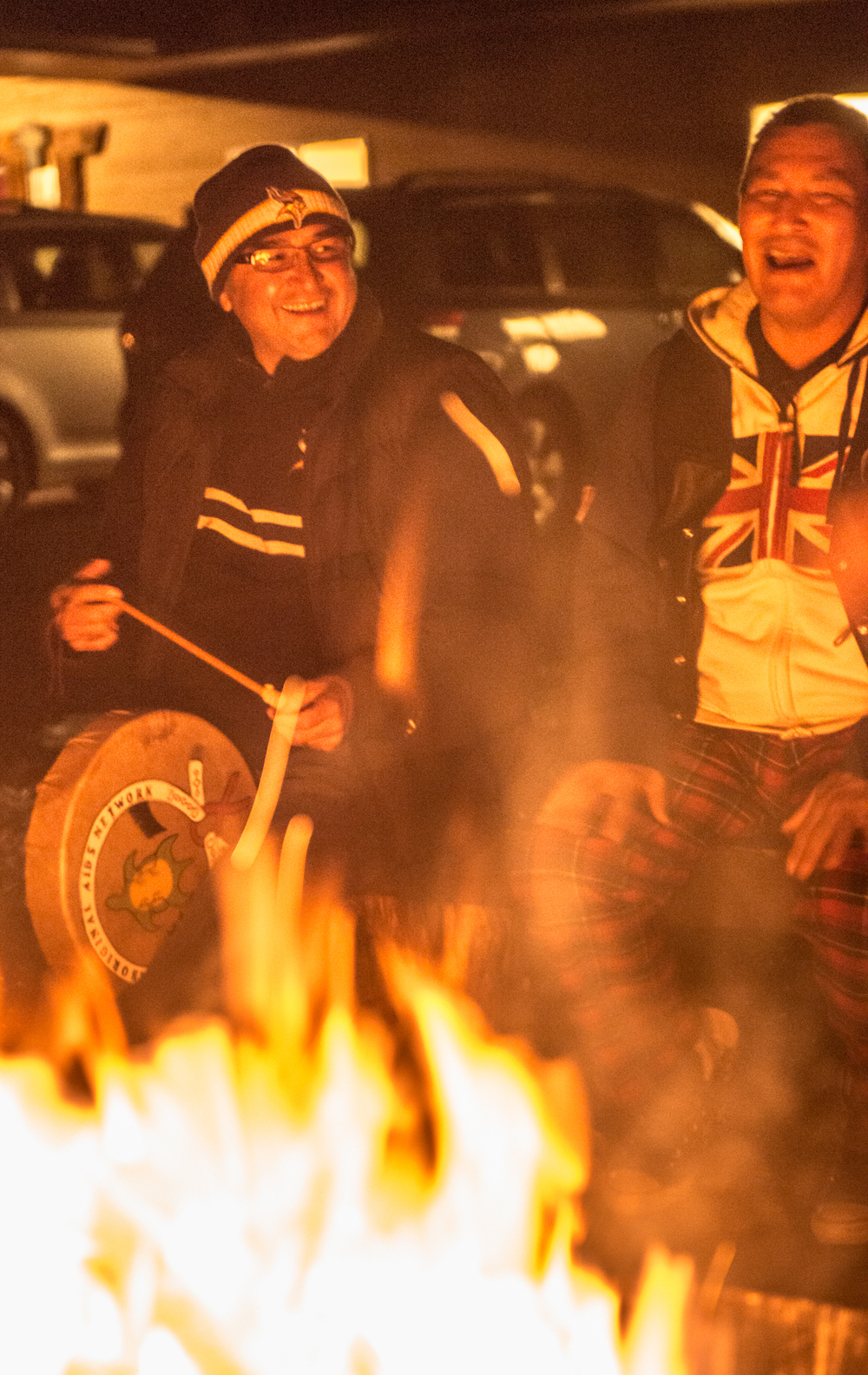 One of our Vancouver elders and a DUDE around the fire pit on our last night there.