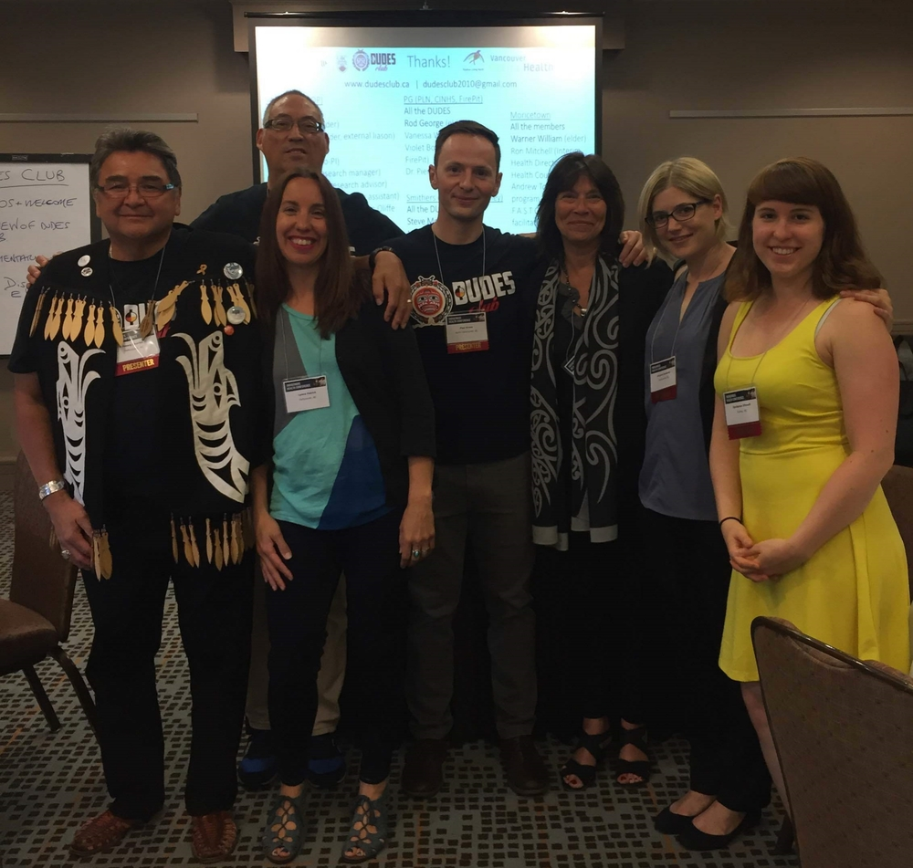 After the workshop presentation. From left to right - Henry Charles, Sandy Lambert (back), Lyana Patrick (front), Dr. Paul Gross, Dr. Vicki Smye, Viviane Josewski, and Iloradanon Efimoff