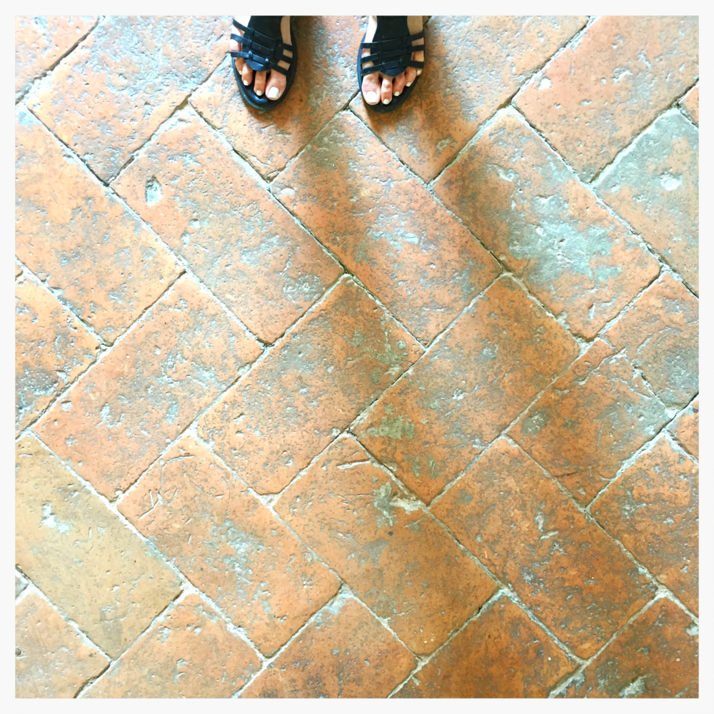 tile floors inside a medieval church in Pitigliano, Italy... these are B E A U T I F U L and really really old!