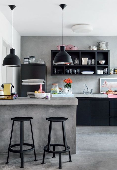 Blocks of color + contrast + that cute fridge + pops of pink = my favorite kitchen of the moment.