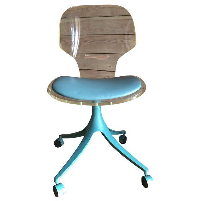 Vintage Lucite & Teal Desk Chair