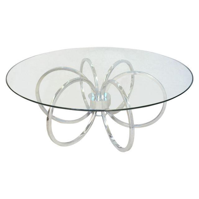 MCM Milo Baughman Chrome Circular Coffee Table